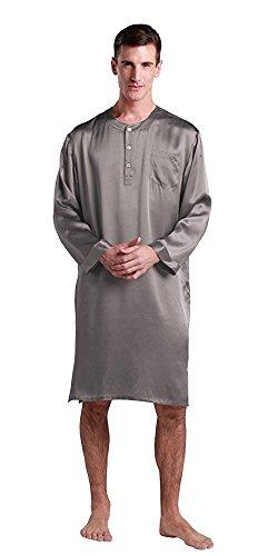 LilySilk Chemise de Nuit en Soie Homme Pyjama à Manches Longues Style Chinois Col Boutonné Longueur Genou 22 Momme M Gris Foncé