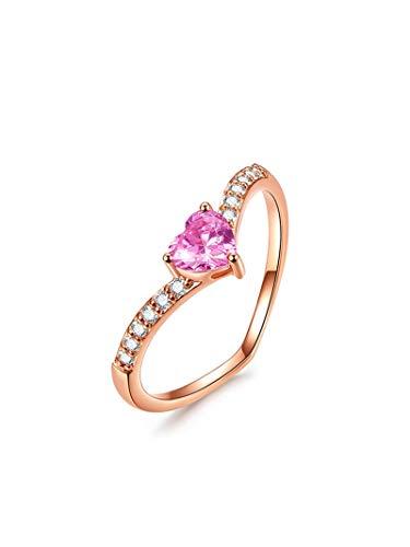 AnazoZ 18k Oro Rosa Anillo para Mujer Oro Rosa Anillos para Mujer Corazón Turmalina Rosa Blanca Talla 12