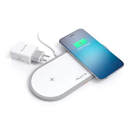 FLUX S Cargador Inalambrico Doble, Carga Rapida Wireless Dual por Inducción 5W   7.5 W   10 W, Qi Fast Charger, Incluye Adaptador de Corriente, para iPhone11 11Pro XR Xs Max X 8 Airpods 2 Galaxy