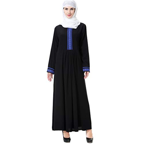 CICIYONER Kleid Damen Kleider Frauen Kleiden Muslim Arabischer Islamischer Mittlerer Osten Print Langarm Abaya Volltonfarbe Robe