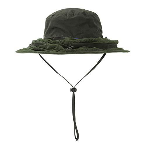 Faletony Kopfnetz Moskito Sonnenhut, Mückenschutz UV Schutz Buschhut Anglerhut Fischerhüte Safari Moskitonetz Hut für Damen Herren (Armee-Grün)