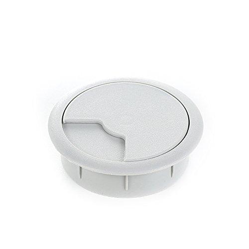 sossai® kabelinföring KDM2 (8 st) | Kabeluttag/skrivbordskanal för skrivbord, kontor och bänkskivor | Färg: grå | Diameter: 60 mm