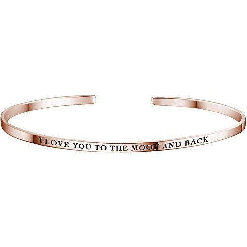 Soufeel Personalisierter Armreif Armband mit Gravur & Wunschnamen graviert Damen Schmuck Minimalist Armschmuck für Frauen Farbe: Rosegold Bereite 2,8 mm