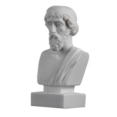 Plato Büste griechischer Vater der Philosophie Statue Alabaster handgefertigt Kopf Skulptur