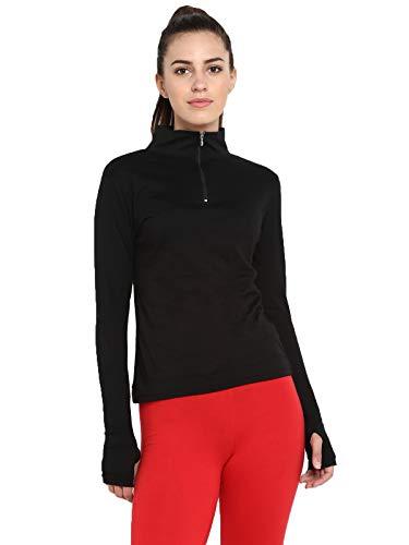 Ap'pulse Women's Long Sleeve Thumbopen 1/4 Zip Hi Neck Tshirt