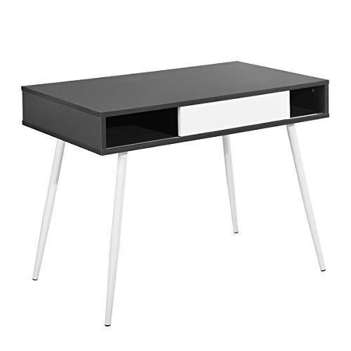 Escritorio sencillo moderno para el hogar o la oficina con cajón grande con puertas correderas, tablero de madera negro y patas de acero blanco (100x58x77cm)
