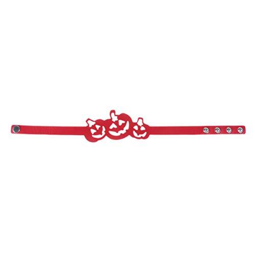 Abaodam Collar de calabaza hueco de cuero de Halloween Gargantilla de moda de baile de fiesta colgante único clavícula encanto joyería (rojo)