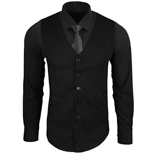 Rusty Neal Herren Hemd mit Weste Krawatte Anzugs Sakko Business Hochzeit Freizeit Hemden Set wählbar RN-44-HWK, Farbe:Schwarz, Größe:M