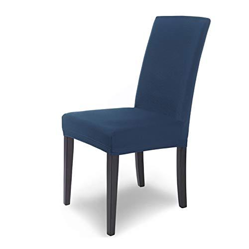 SCHEFFLER-Home Stretch Stuhlhusse Mia | 6er Set elastische Stuhlabdeckungen | Stuhlhussen Schwingstühle | Mikrofaser Spannbezug mit Gummizug | Elegante Stuhlbezüge