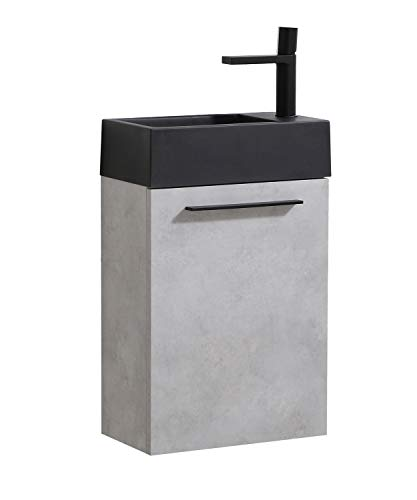 Badezimmer Badmöbel Set Madrid 40x22 cm Beton mit schwarzes Waschbecken - Unterschrank Schrank Waschtisch Toilette