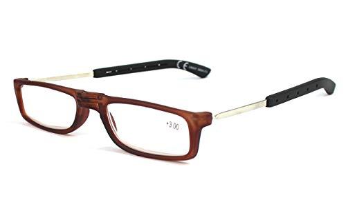 Gafas Plegables con Varillas Regulables de Lectura Vista Cansada Presbicia, Graduadas Dioptrías +1.00 hasta +3.50, Hombre y Mujer Unisex, Montura Fina y Bisagras Standard (+2.5, Marrón)