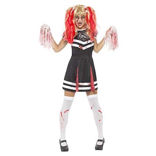 SMIFFYS Costume cheerleader diabolica, Nero, con vestito e pon-pon