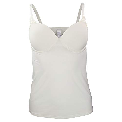 VIANIA! Dessous BH-Hemd Damen 181514 I BH Hemd mit Spacercups I Unterhemd für Damen mit Bügel I Top mit Stickermotiv I 85D I Cream