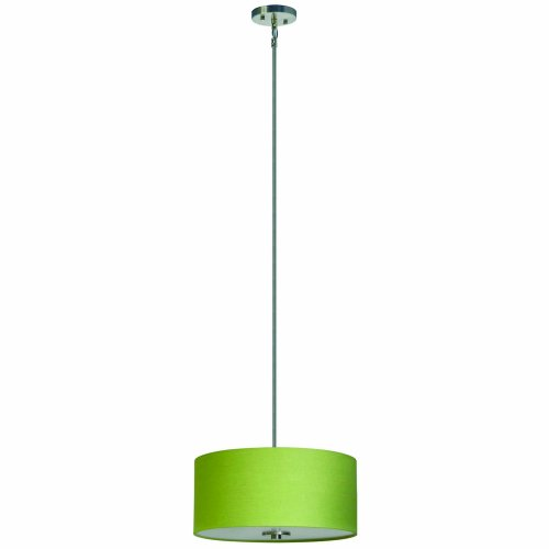 Yosemite Home Decor SH1607-3P-RLSS Lyell Forks Family 3-Light Satin Steel Pendant with Riche Lime Shade, Green
