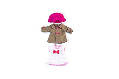Miniland poppenkleding Jurk, mantel en hoed wit, roze, bruin.