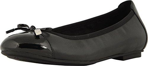 Vionic Women's Spark Minna Ballet Flat - Ladies Cap Toe Walking Flats with Concealed Orthotic Arch Support Black Black 7 Narrow US