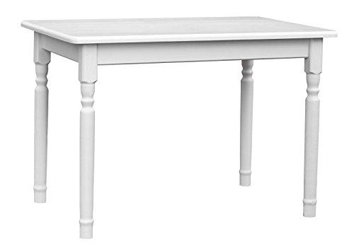 KOMA Esstisch 120x70cm Küchentisch Tisch Massiv Kiefer Holz Weiß Honig Landhausstil Neu (Weiß)
