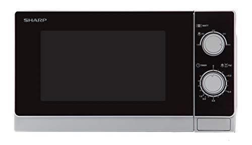 Sharp R200INW Solo-Mikrowelle / 20 L / 800 W / 5 Leistungsstufen / Timer von 35 Minuten bis 00 Sekunden / gewichtgesteuertes Auftauen / Energiesparmodus / Glasdrehteller (25,5 cm) / silber