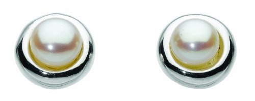 Dew Women's Round Sterling Silver and Freshwater Pearl Stud Earrings