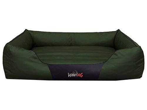 Hobbydog Cama para Perros, sofá para Perros, Cesta para Mascotas, Diferentes tamaños y Colores, Cordura Comfort (L – 65 x 50 x 20, 10 – Verde)