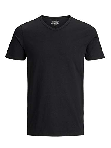 Jack & Jones Jacbasic V-Neck tee SS 2 Pack Camiseta, Negro (Black Black), Medium (Pack de 2) para Hombre