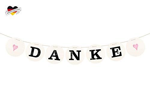 renna deluxe Danke Girlande Rosa für die Hochzeit Vintage Hochzeitsgirlande für Hochzeit-Shooting Dekoration Hochzeitsdeko Geschenketisch | Handmade in Deutschland