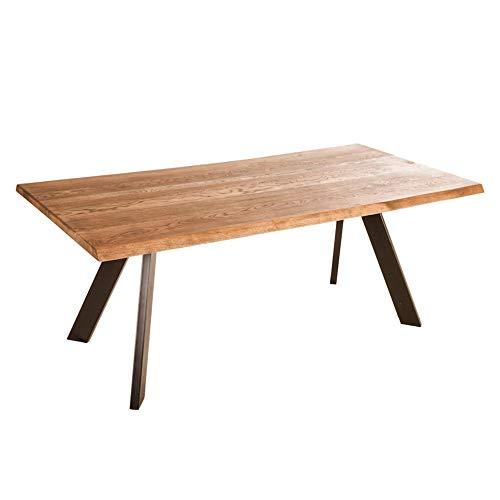 Marque Amazon - Alkove - Hayes - Table en bois massif avec pieds en métal en forme de A, 180 cm, Chêne sauvage