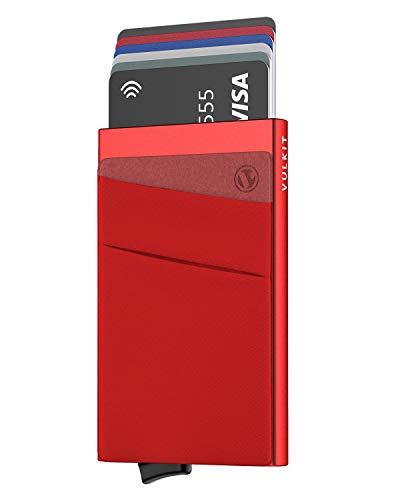 VULKIT Porta Carte di Credito Schermato Pop-Up Portafoglio Sottile Uomo o Donne in Alluminio Rigido con Tasca Negozi Carte e Banconote, Rosso