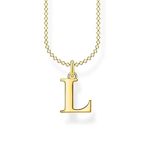 THOMAS SABO Damen Halskette mit dem Buchstaben L 925er Sterlingsilber 750er Gelbgold-Vergoldung, Länge: 38cm - 45cm, KE2021-413-39-L45V