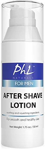 PHL Naturals Unscented Natural After Shave Lotion for Men - Soothes Irritation from Shaving,...