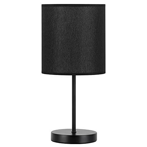 Lámpara de mesa en minimalista, lámpara de mesita de noche, pantalla fina de tela para dormitorio, salón, simple, práctica, color negro