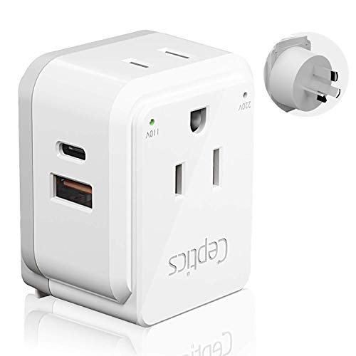 Australia, China, New Zealand Power Plug Adapter Travel Set by Ceptics, Safe Fast Dual USB & USB-C 3.1A 2 USA Outlet - Compact & Powerful - Use In Fiji, Argentina - Includes Type I Swadapt Attachments