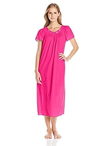 Miss Elaine Women's Tricot Long Flutter Sleeve Nightgown, Fuchsia, Medium