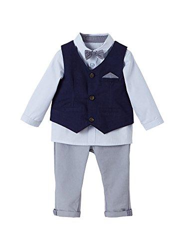 Vertbaudet Baby Jungen, festliches Anzug-Set, Taufanzug Nachtblau/grau/hellblau 62