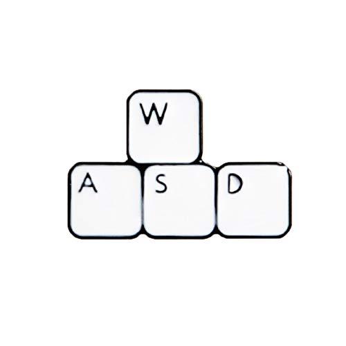 WASD Anstecknadel, Gaming-Tastatur, Emaille, Computer, Gamer, Jeansjacke, Anstecknadel, Anstecknadel, Weiß