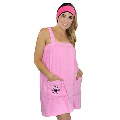 PINKRACY KimKen Women Bath Wrap Towel for Shower with Pocket Robe & Facial Headband - 100% Cotton - Gift Idea