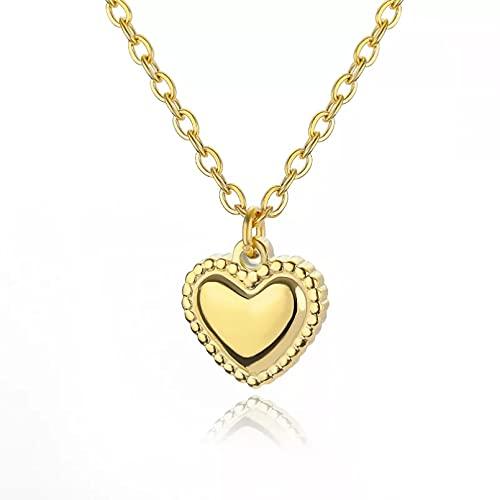 Collares con colgante de corazón pequeño para mujer, cadena de oro de acero inoxidable, gargantilla femenina con corazón de amor, joyería romántica Collar de la amistad Regalo de cumpleaños para ella