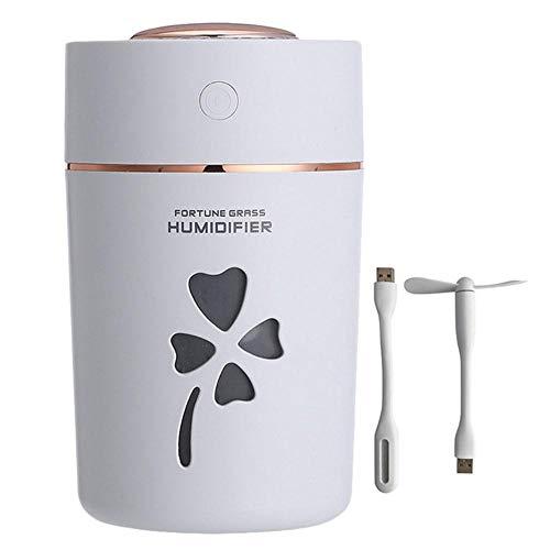Haochide Luchtbevochtiger, multifunctioneel, 280 ml, verstuiver voor auto-luchtreiniger voor huishoudelijk gebruik, met aroma-diffuser voor kruidenaroma, mini-luchtbevochtiger met USB-aansluiting, nachtlampje met gekleurde led