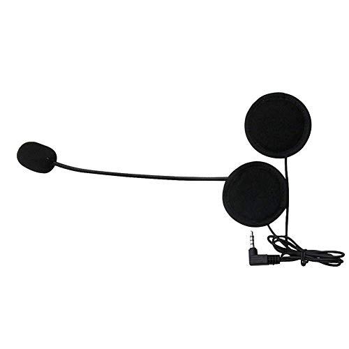 YUOKI99 Moto Casco Auriculares, Manos Libres Moto Intercomunicador para Casco Bluetooth Interphone Portátil con Cable Estéreo Micrófono Auricular - Negro, Free Size
