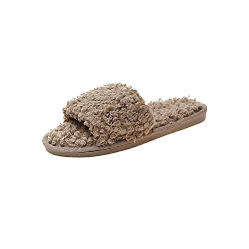 Feing – Zapatillas de Estar en casa para Mujer, de Felpa, Marrón, 4 US