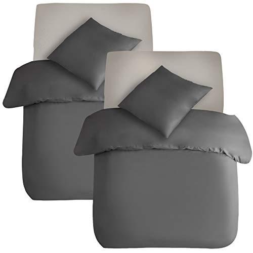 AYSW Juego de ropa de cama de algodón de 4 piezas, gris, 2 fundas de edredón de 135 x 200 cm y 2 fundas de almohada de 80 x 80 cm