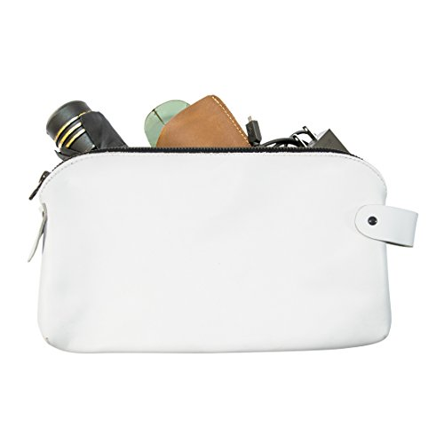 Large All Purpose Dopp Kit Utility Bag (Cords, Chargers, Tools, School / Office Supplies) Handmade by Hide & Drink :: White