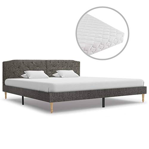 UnfadeMemory Bed Frame with Mattress Upholstered Bed Fabric Headboard Bedroom Bed Frame Guest Bed Youth Room Double Bed Single Bed (Dark Grey, 180 x 200 cm)