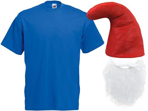 Alsino Blaue Zwergenkostüm Verkleidung (Kv-139) mit T-Shirt, roter Zwergenmütze und Bart, Größe:M
