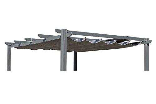 OUTFLEXX Ersatzdach für LECO Pergola, Garten-Pergola in anthrazit, Pavillon aus Polyester Textil, universal und wasserabweisend, ca. 390 x 316 cm