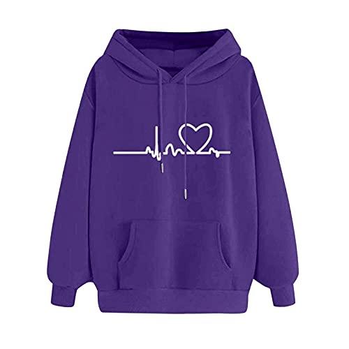 Wave166 Sudaderas de mujer monocolor con capucha EKG estampada, camiseta de manga larga, cuello redondo, sudaderas sueltas, cómodas, informales, para el día a día, para otoño, morado, XL