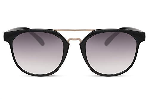 Cheapass Gafas de Sol Puente Doble Redondas Negro Brillante con Lentes Oscuras UV400 Hombres Mujer