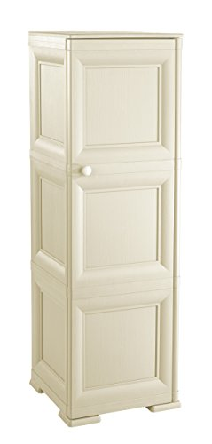 Tontarelli 8085566210 Omnimodus Schrank mit 3 Fächern und 1 Vollblatt-Tür, Kunststoff, Cremefarben