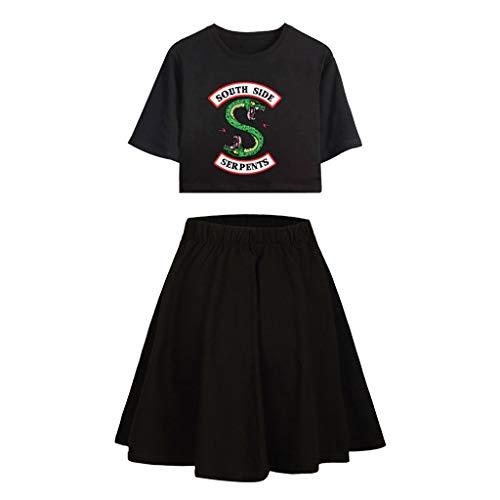 Riverdale Tops und Hosen Damen, Teenager Mädchen Southside Serpents T-Shirt und Shorts Mode Sommer Crop Tops Anzug Bauchfrei Oberteile Sport Kurze Tank Top Frauen Kurzarm Blusen T-Shirt (A-B-B 1, XS)