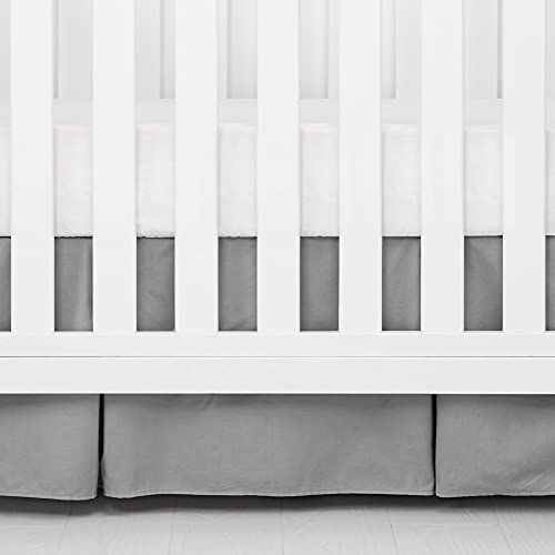 TILLYOU Charcoal Gray Pleated Crib Bed Skirt for Baby Boys Girls, 100% Natural...